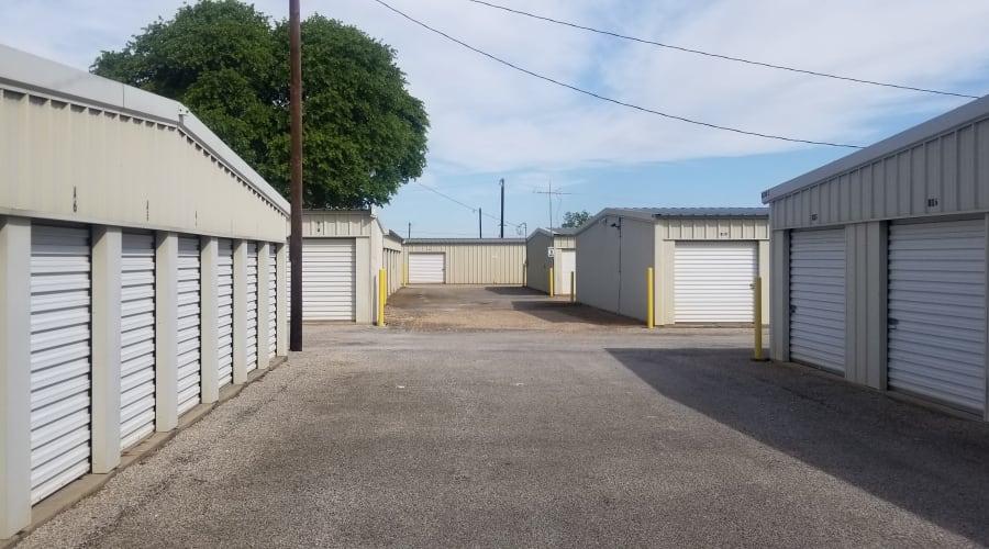 The drive up storage units at KO Storage of Granbury in Granbury, Texas