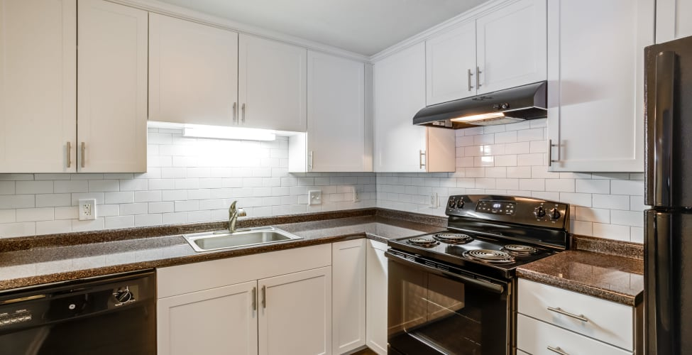 Bright kitchen at Rosemont Square Apartments in Randolph, MA