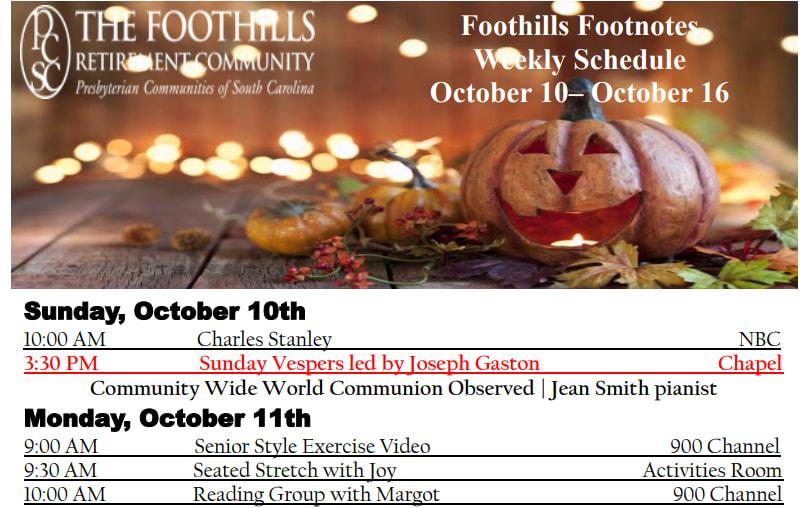 Sample activity calendar at The Foothills Presbyterian Community