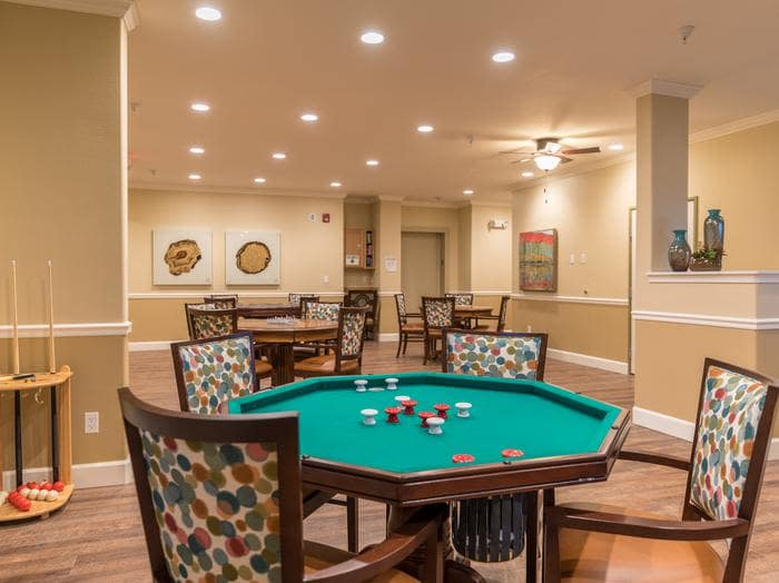 fully equipped game room at Pacifica Senior Living Vancouver in Vancouver, WA