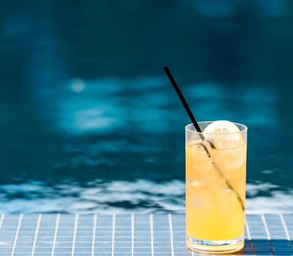 A refreshing drink sitting near the pool at The Columbia at the Waterfront in Vancouver, Washington