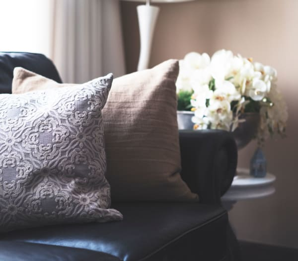 Cozy décor in an apartment at The Columbia at the Waterfront in Vancouver, Washington