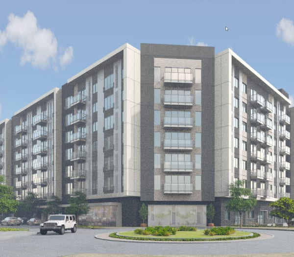 A rendering of the exterior of The Columbia at the Waterfront in Vancouver, Washington
