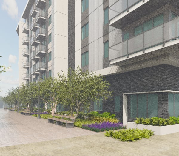 A rendering of the front entrance of The Columbia at the Waterfront in Vancouver, Washington