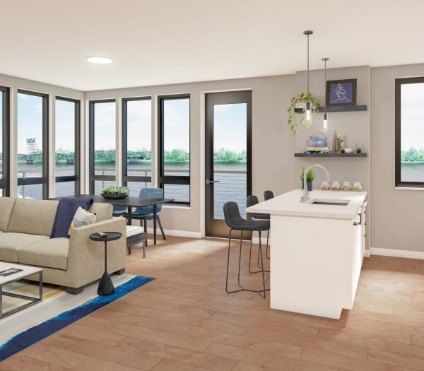 A rendering of an apartment interior overlooking the river The Columbia at the Waterfront in Vancouver, Washington