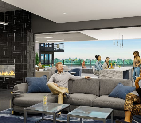 Interior rendering of indoor-outdoor lounge and pool area at The Columbia at the Waterfront in Vancouver, Washington