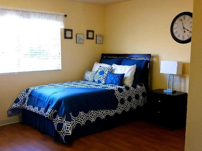 Beautiful bedroom at Pacifica Senior Living South Coast in Costa Mesa, California