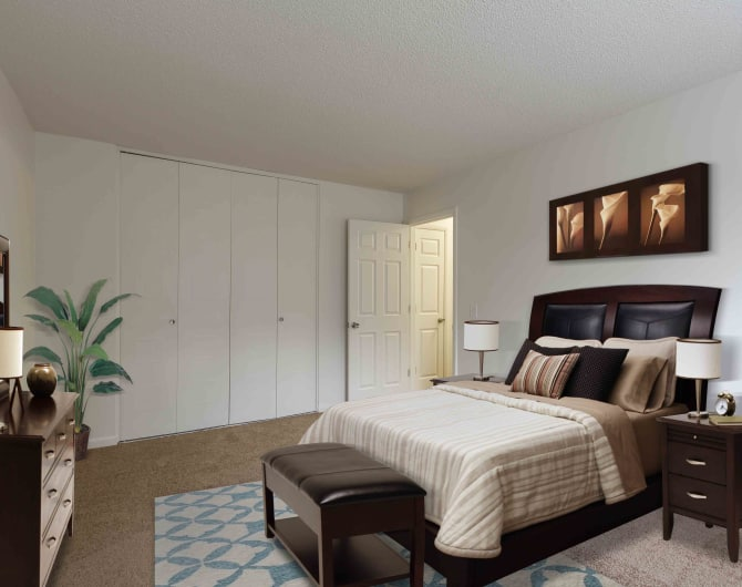 Bedroom at Penfield Village Apartments in Penfield, NY