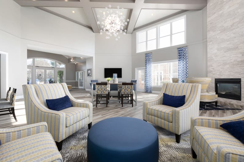 Bright and welcoming lobby interior with modern furnishings at 200 East in Durham, North Carolina