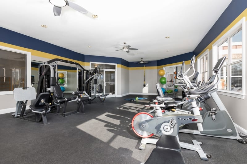 Very well-equipped onsite fitness center at 200 East in Durham, North Carolina