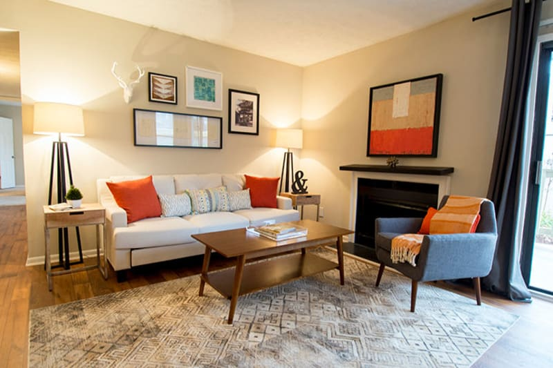 Well-furnished model apartment's living area at The Everette at East Cobb in Marietta, Georgia
