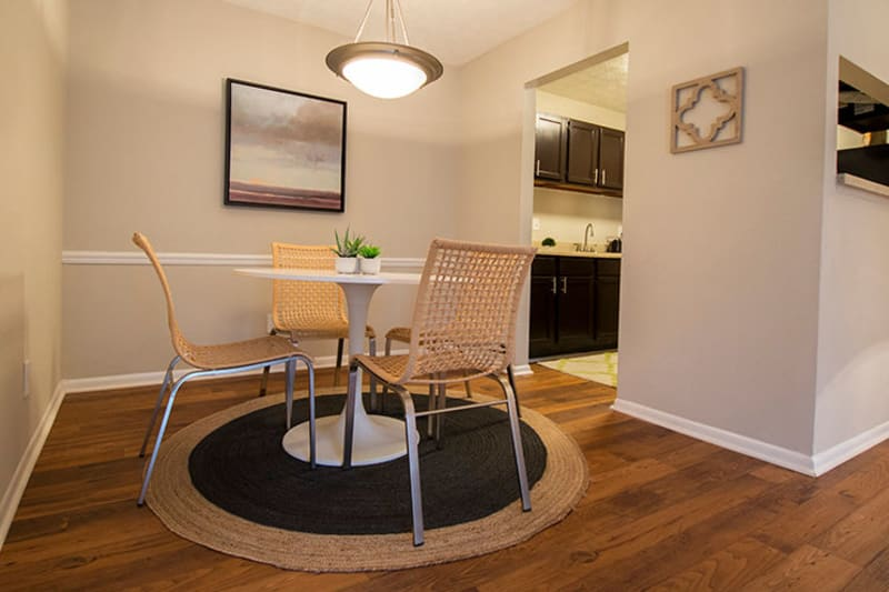 Model home's dining nook near the kitchen at The Everette at East Cobb in Marietta, Georgia