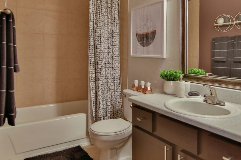 Large vanity mirror and a granite countertop in a model home's bathroom at Allegro on Bell in Antioch, Tennessee