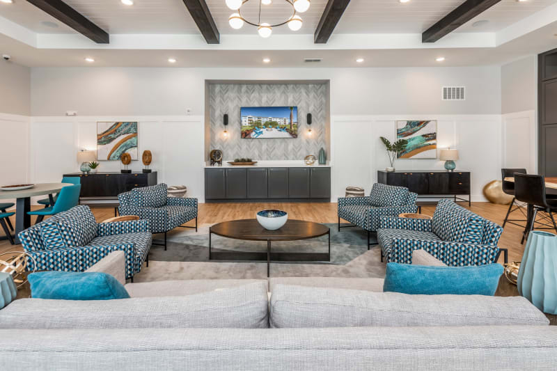 Spacious clubhouse with kitchen at Argyle at Oakleaf Town Center in Jacksonville, Florida