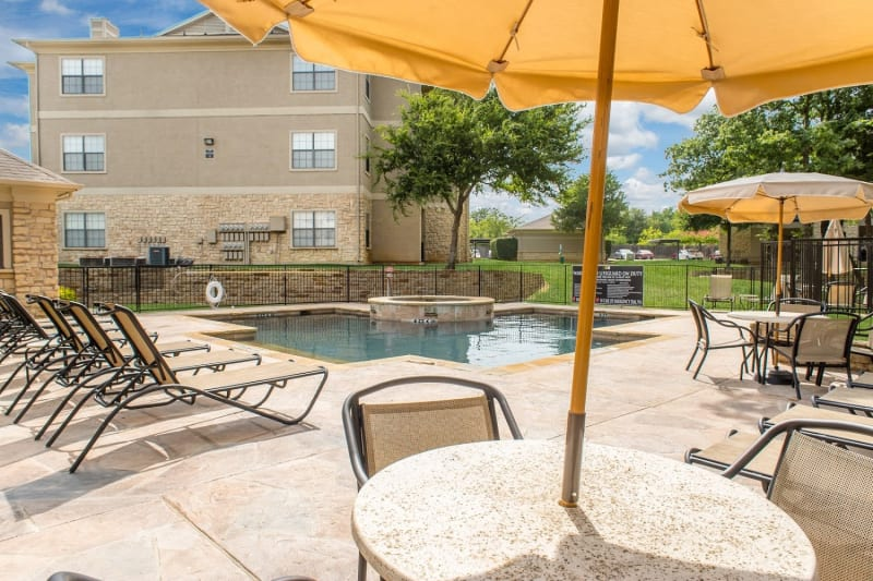 An outdoor seating area at The Aidan in Lewisville, Texas