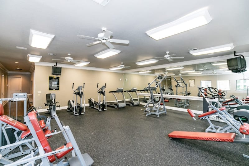 Fitness center at The Aidan in Lewisville, Texas