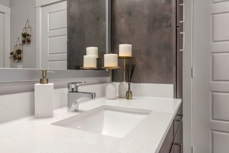 Roomy bathroom with lots of storage space under the large vanity at Domain at Founders Parc in Euless, Texas