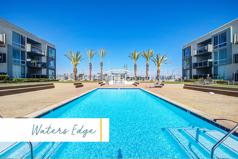 Swimming pool at Waters Edge at Marina Harbor in Marina del Rey, California