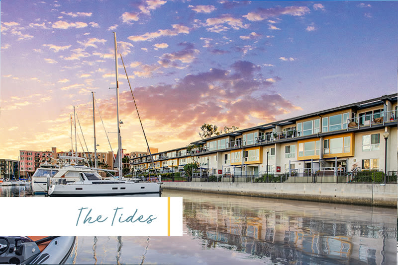 Dusk view of the harbor and the waterside community at The Tides at Marina Harbor in Marina del Rey, California