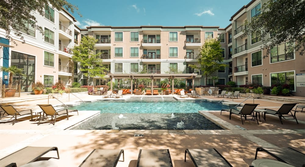 Refreshing resort style pool at Seville Uptown in Dallas, Texas