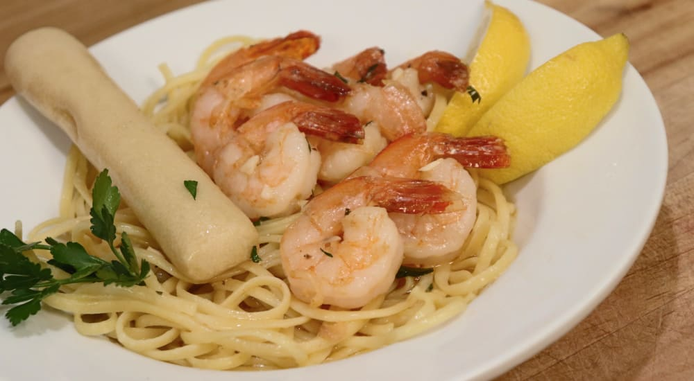 Delicious shrimp and pasta dish at The Springs at Grand Park in Billings, Montana