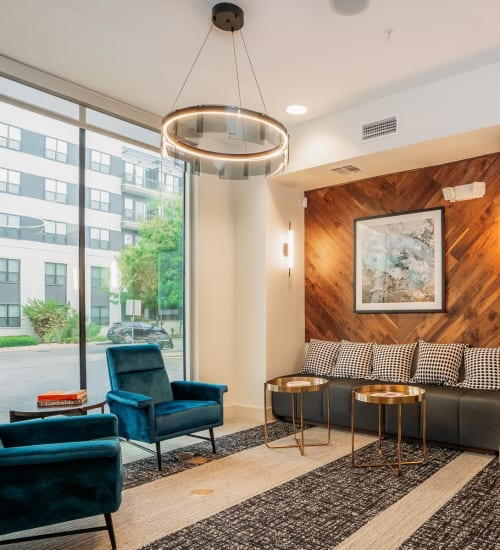 Warm and welcoming lobby interior at Lakeshore Pearl in Austin, Texas