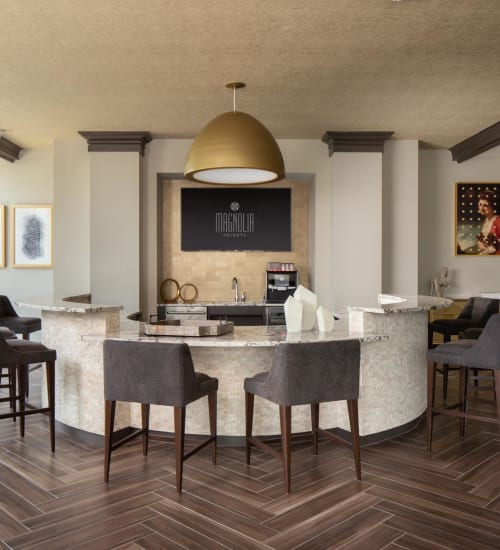 Bright and welcoming leasing area in the lobby at Magnolia Heights in San Antonio, Texas