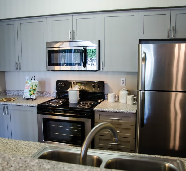 Light kitchen cabinetry with stainless steel appliances at Wildreed Apartments in Everett,