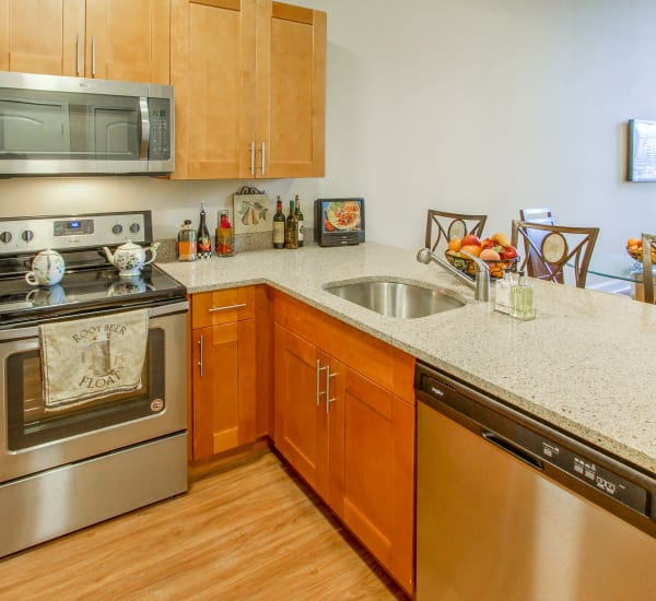 Fully equipped kitchen at The Lofts at Ponemah Mills in Taftville, Connecticut