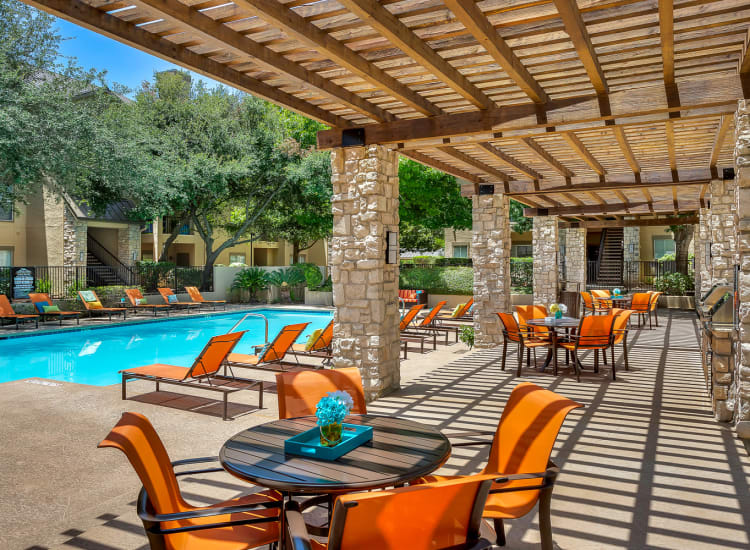 Newly renovated swimming pool at Villas at Oakwell Farms in San Antonio, Texas