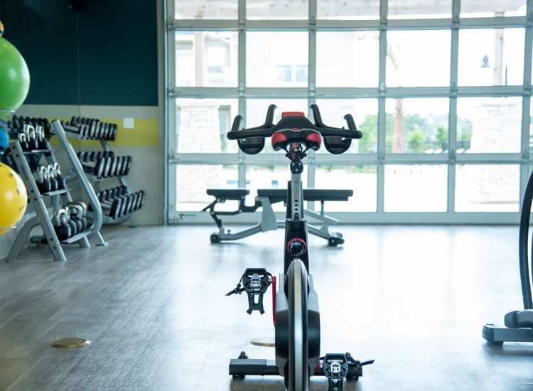 Indoor cycling at Springs at Cobblestone Lake in Apple Valley, Minnesota