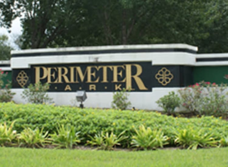 Close up of the monument sign at the entrance to Fort Family Investments's commercial property, Perimeter Park, in Jacksonville, Florida