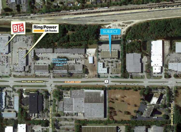 Aerial view of Fort Family Investments's commercial property, Perimeter Commerce Park, in Jacksonville, Florida
