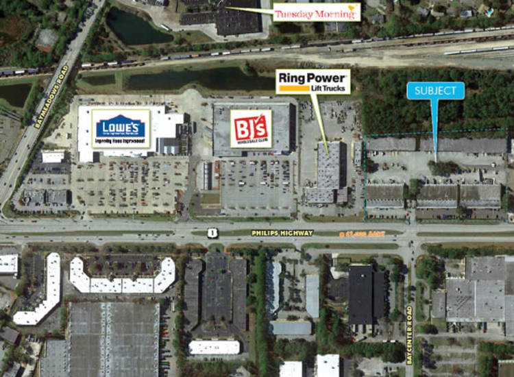 Aerial view of Fort Family Investments's commercial property, Baycenter Commerce Park, in Jacksonville, Florida