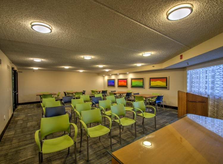 One of the classrooms where different groups meet at Bella Vista Senior Living in Mesa, Arizona