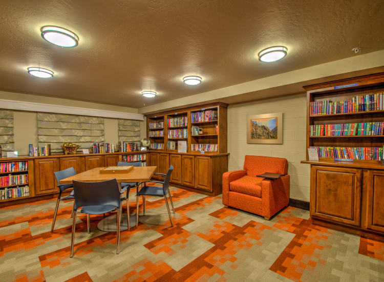 Well-stocked library at Bella Vista Senior Living in Mesa, Arizona
