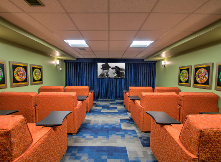 Onsite movie theater at Bella Vista Senior Living in Mesa, Arizona