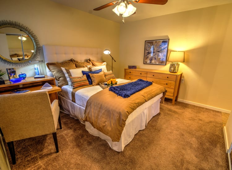 Spacious bedroom with a ceiling fan in a model senior apartment at Bella Vista Senior Living in Mesa, Arizona