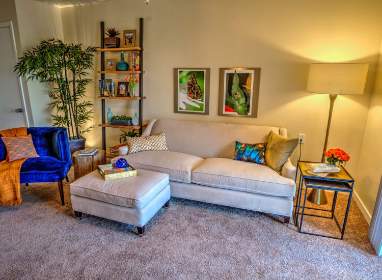 Cozy living area in a model senior apartment at Bella Vista Senior Living in Mesa, Arizona