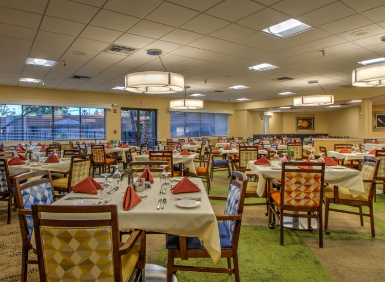 Large dining hall at Bella Vista Senior Living in Mesa, Arizona