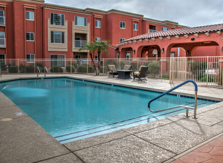 Swimming pool at Casa Del Rio Senior Living in Peoria, Arizona