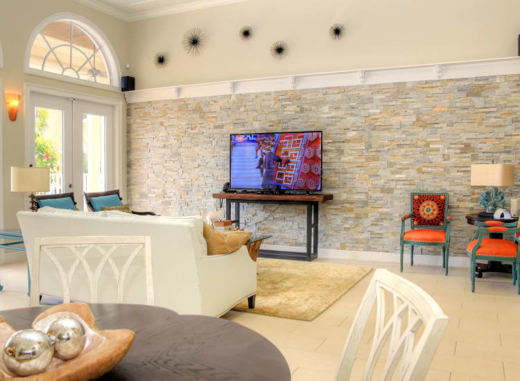 Bright and cheery lobby at Riverwalk Pointe in Jupiter, Florida
