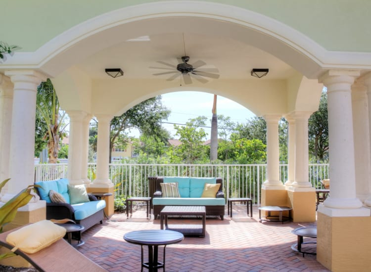 Beautifully architected outdoor lounge area at Riverwalk Pointe in Jupiter, Florida