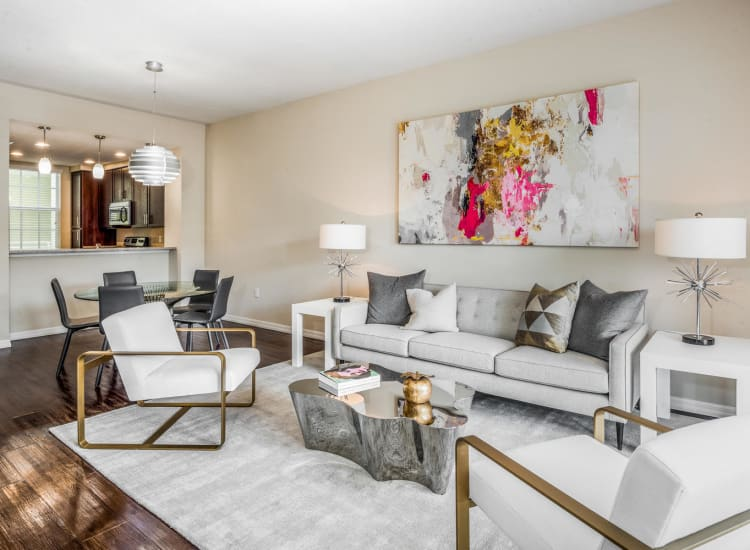 Open-concept layout in a model senior apartment at Riverwalk Pointe in Jupiter, Florida