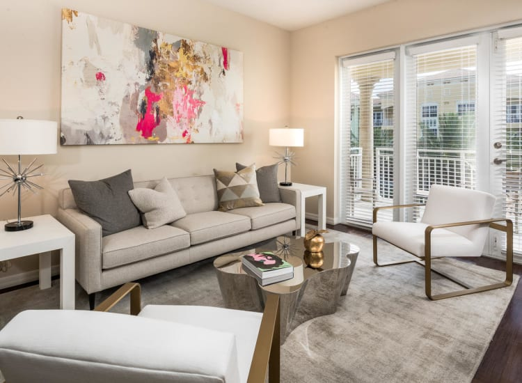 Well-decorated living area in a model senior apartment at Riverwalk Pointe in Jupiter, Florida