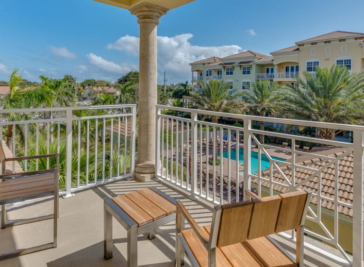 Private balcony outside a model senior apartment at Riverwalk Pointe in Jupiter, Florida