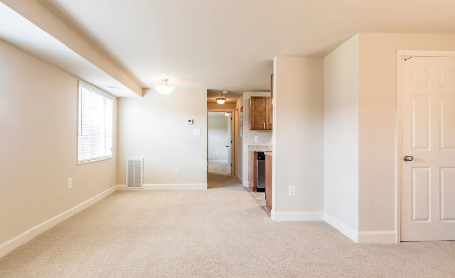 Plush carpet and open-concept living area in recently remodeled home at Westgate Apartments & Townhomes in Manassas, Virginia