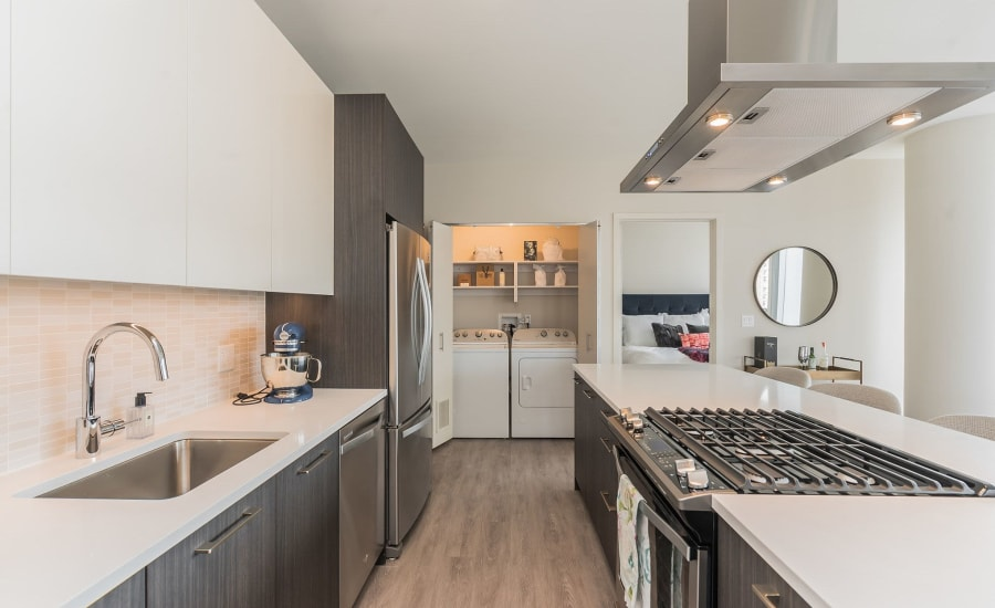 Fully equipped kitchen at Residences at 8 East Huron in Chicago, Illinois