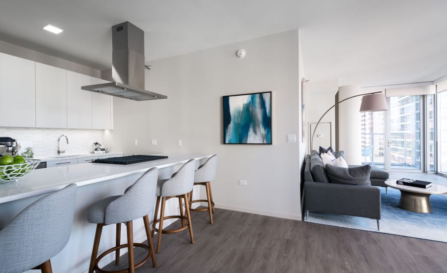 Open concept apartments at Residences at 8 East Huron in Chicago, Illinois