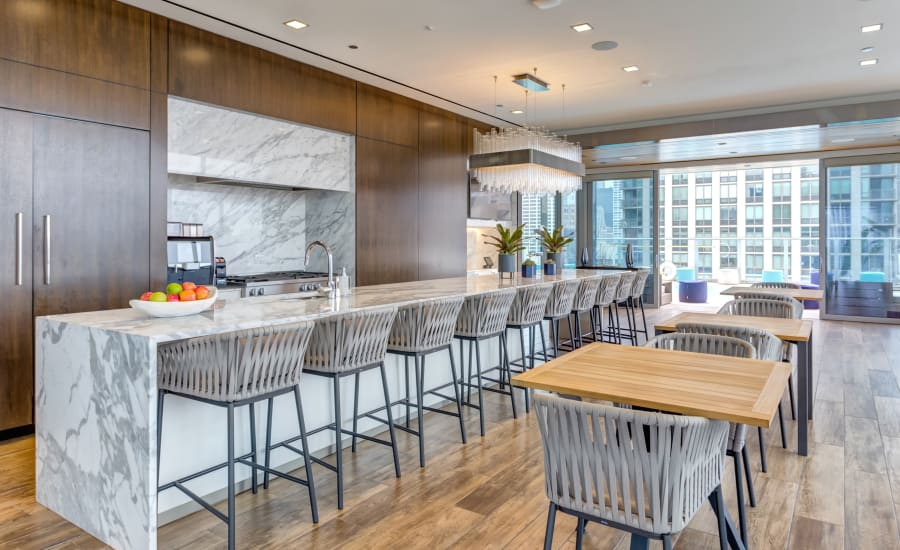 Community kitchen at Residences at 8 East Huron in Chicago, Illinois